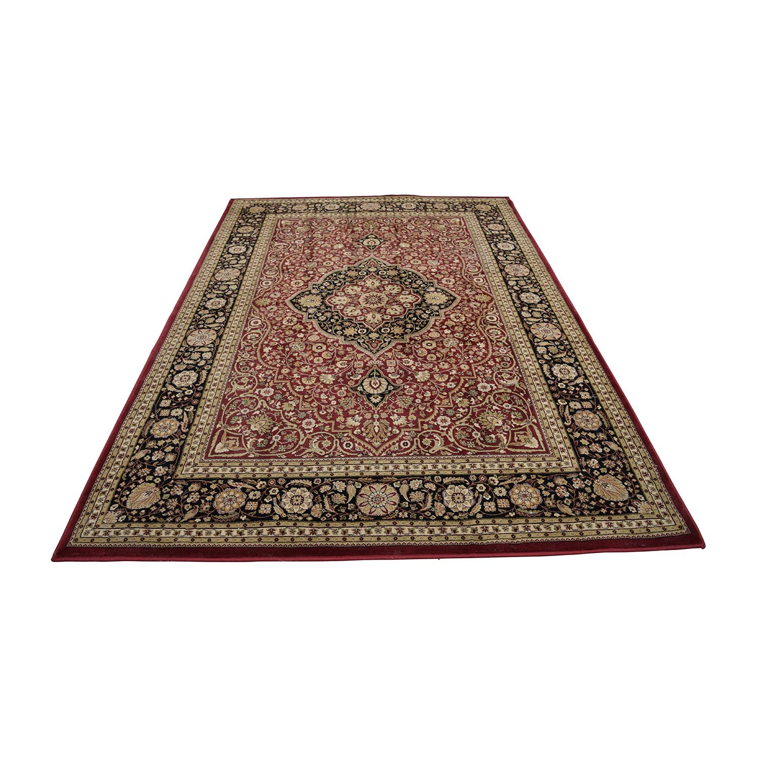 Oriental Red Black and Beige Rug for sale