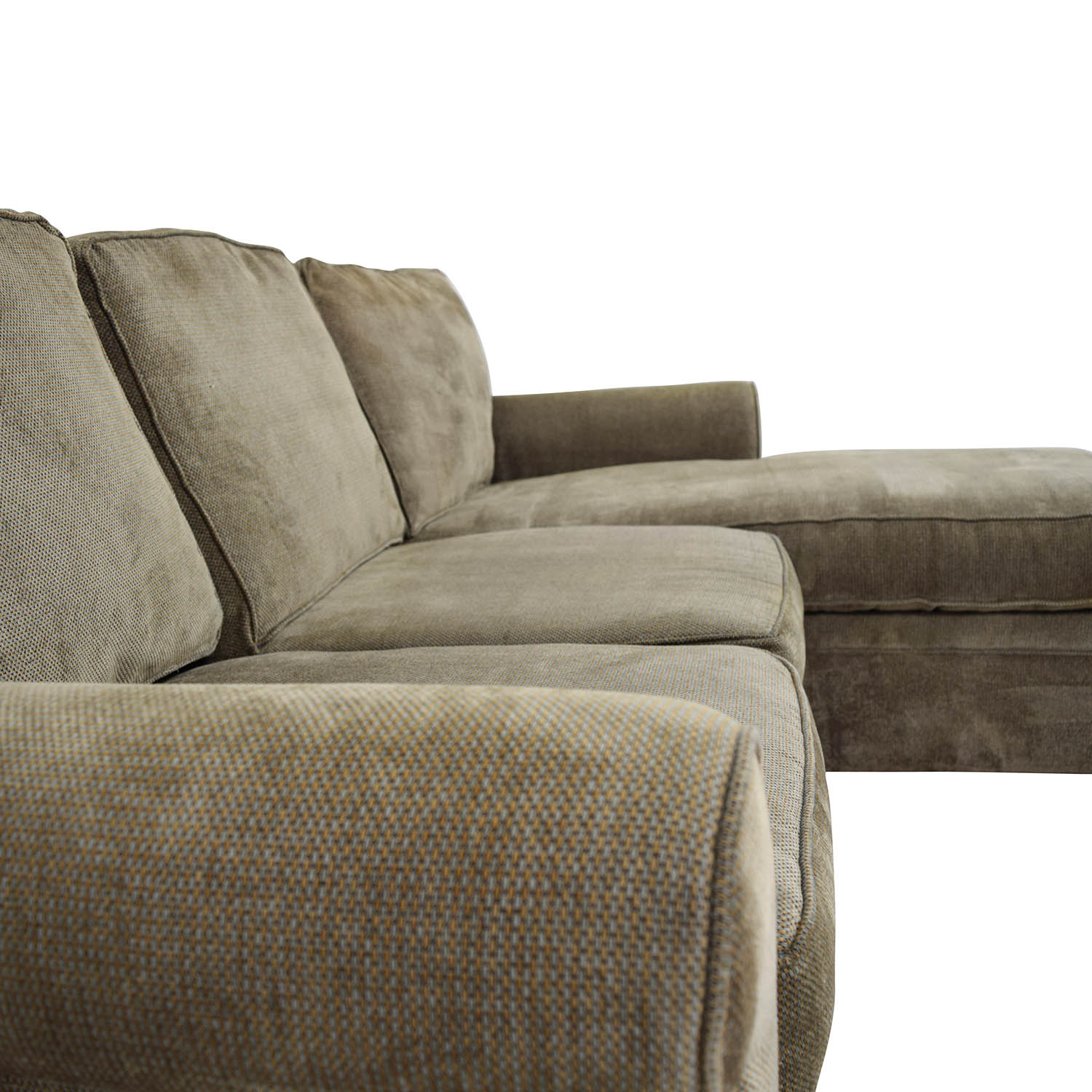 Rowe Furniture Rowe Furniture Green Sectional with Curved Arms discount