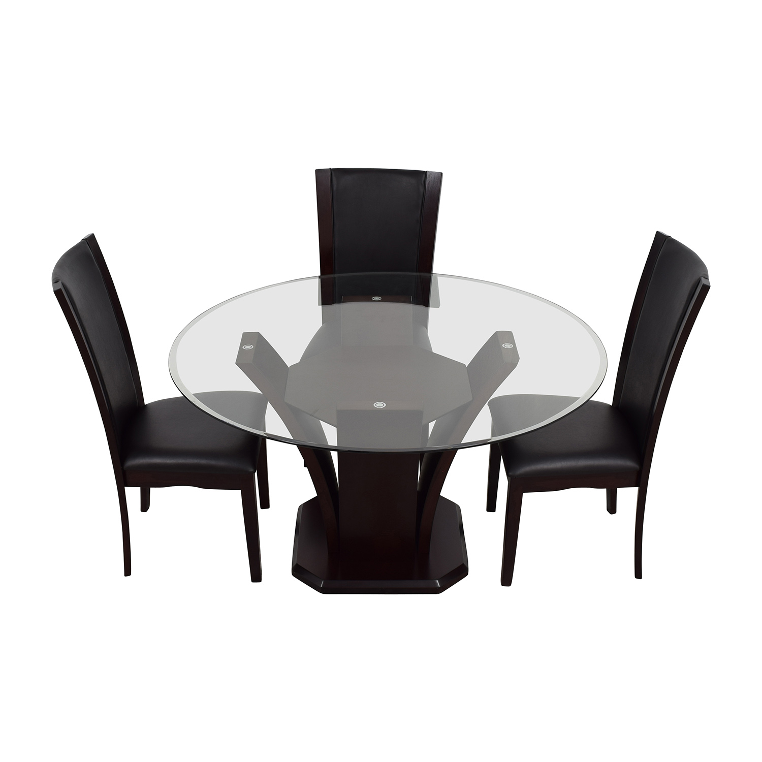 Raymour and Flanigan Raymour & Flanigan Round Glass Dining Set