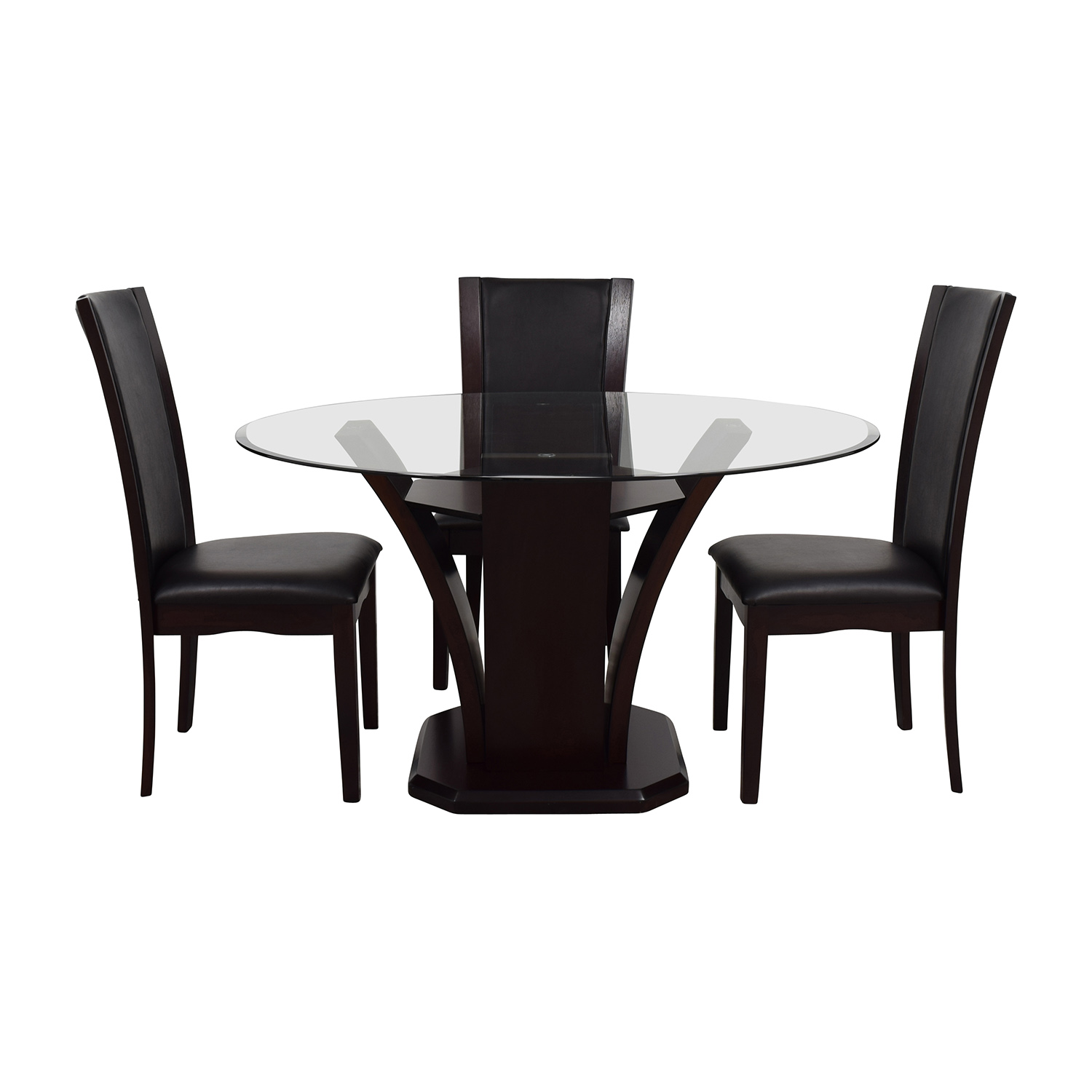 Raymour and Flanigan Raymour & Flanigan Round Glass Dining Set for sale