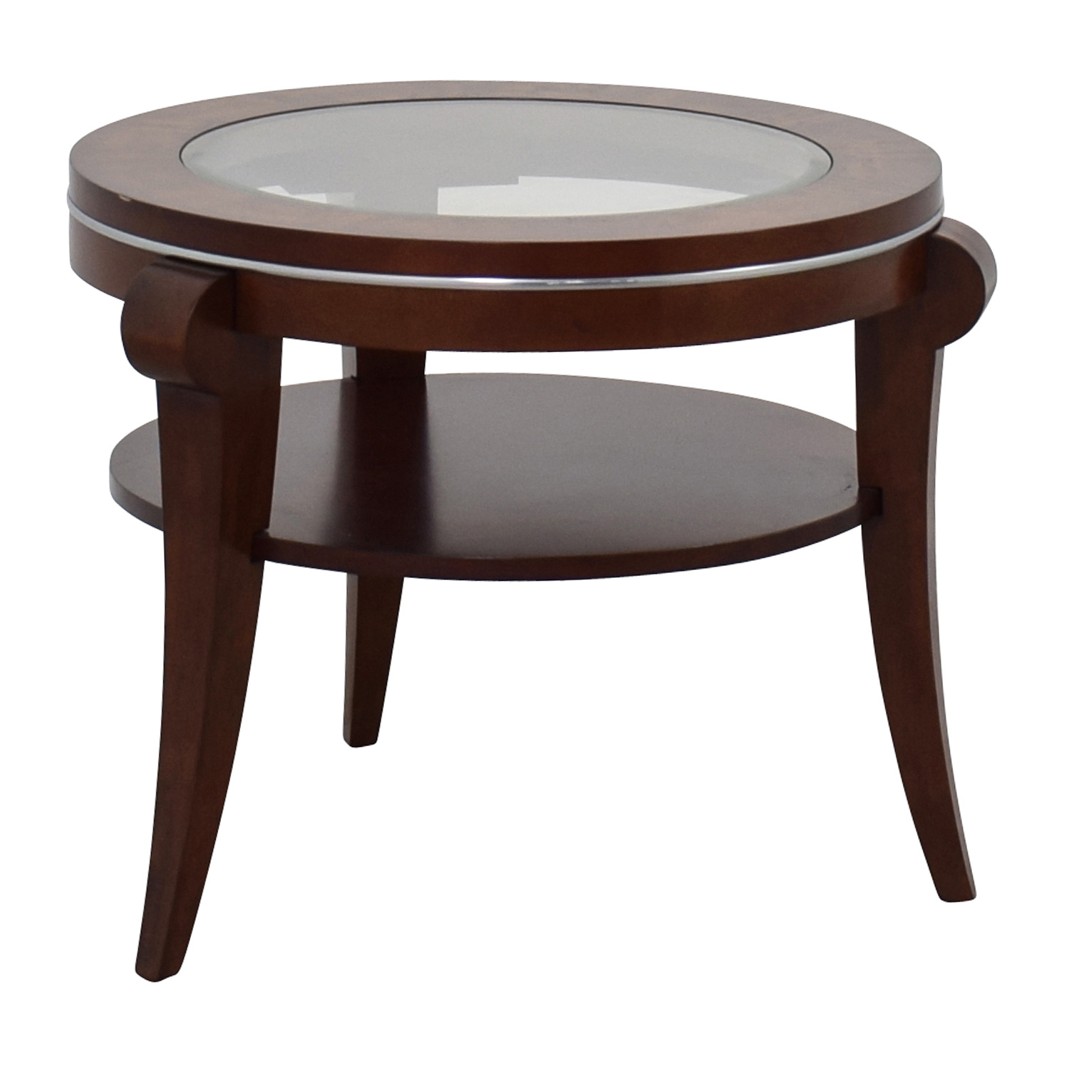 Raymour and Flanigan Raymour & Flanigan Round Glass and Wood Side Table discount