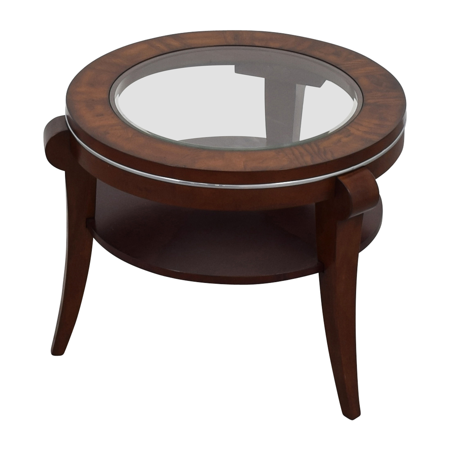 Raymour and Flanigan Raymour & Flanigan Round Glass and Wood Side Table