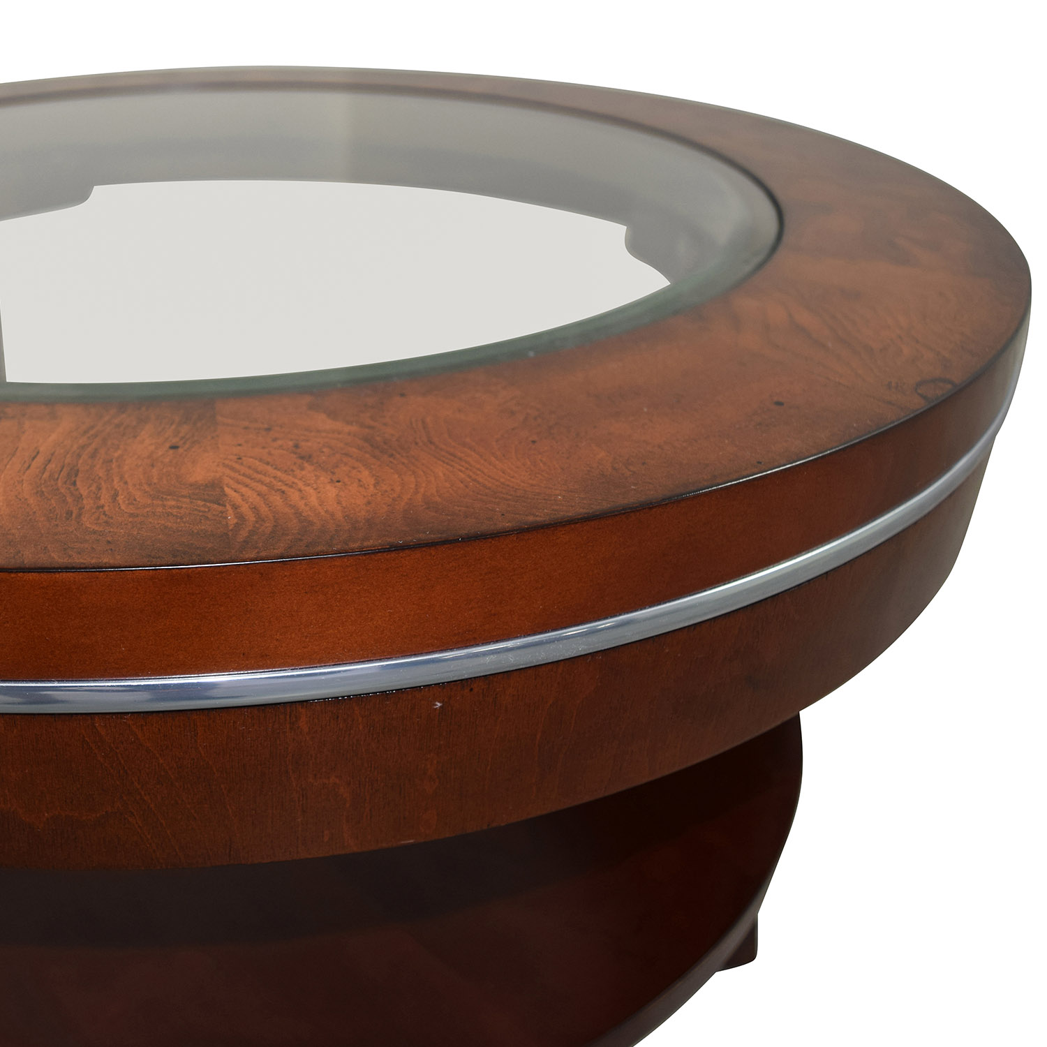 Raymour and Flanigan Raymour & Flanigan Round Glass and Wood Side Table dimensions