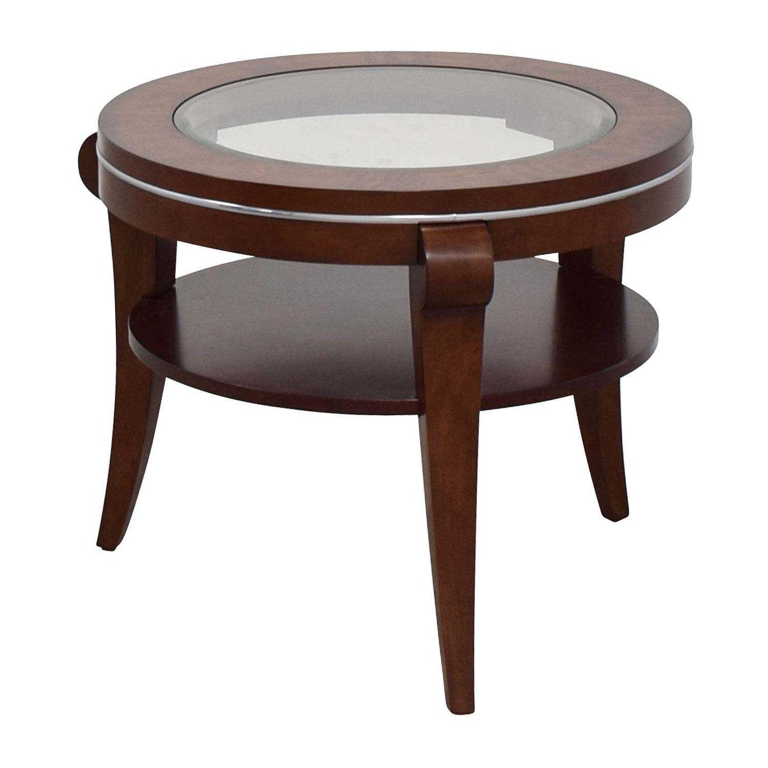 Raymour & Flanigan Round Glass and Wood Side Table Raymour and Flanigan