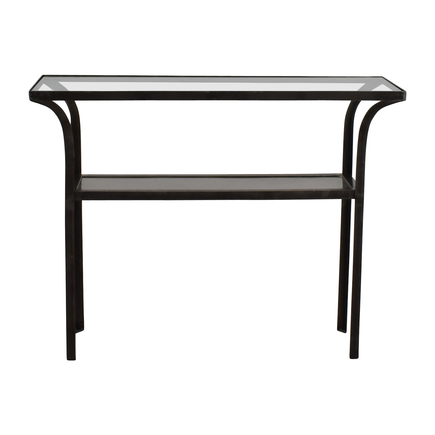 Crate & Barrel Black Glass Console Table / Tables