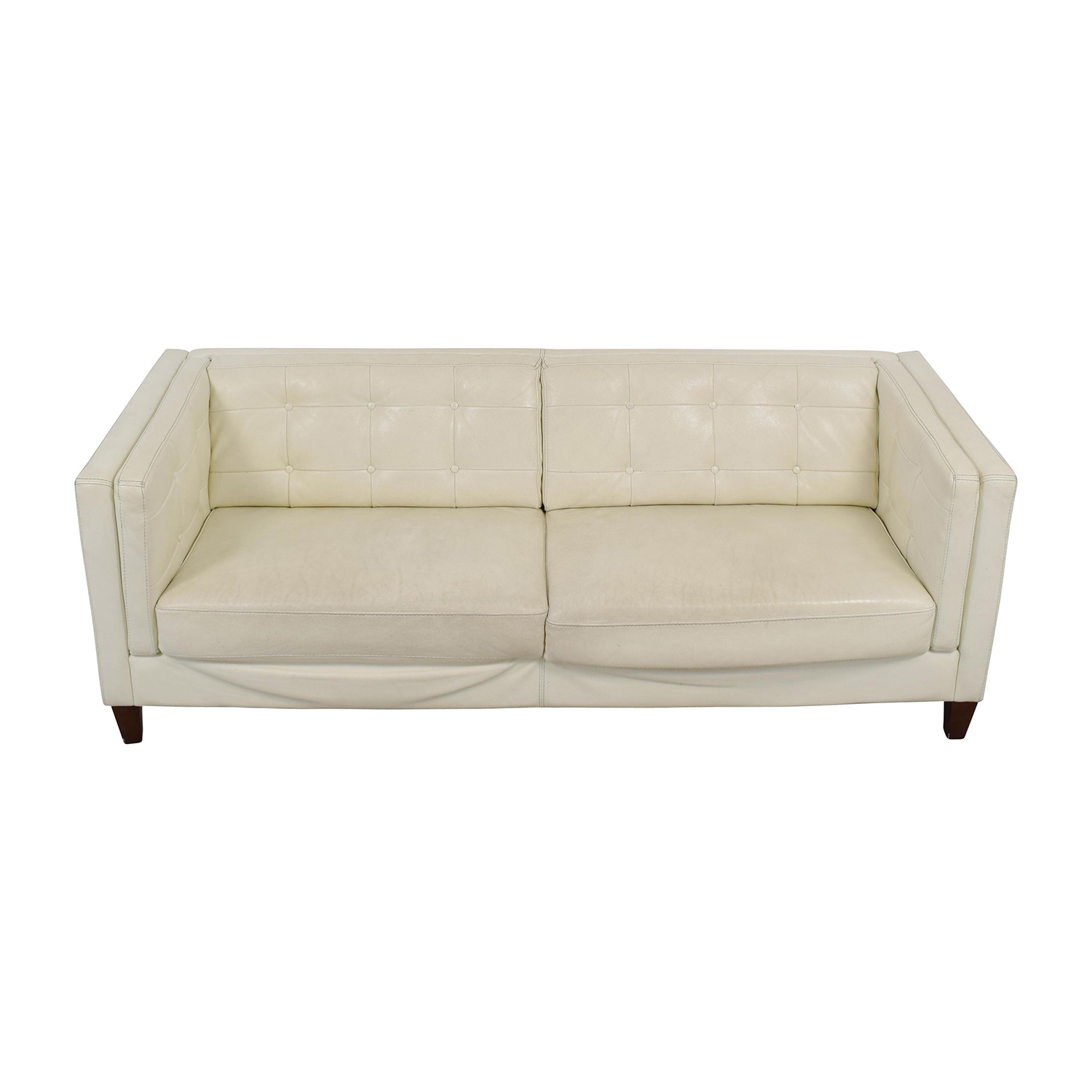 Macys Macys Tufted Pearl White Faux Leather Couch Classic Sofas