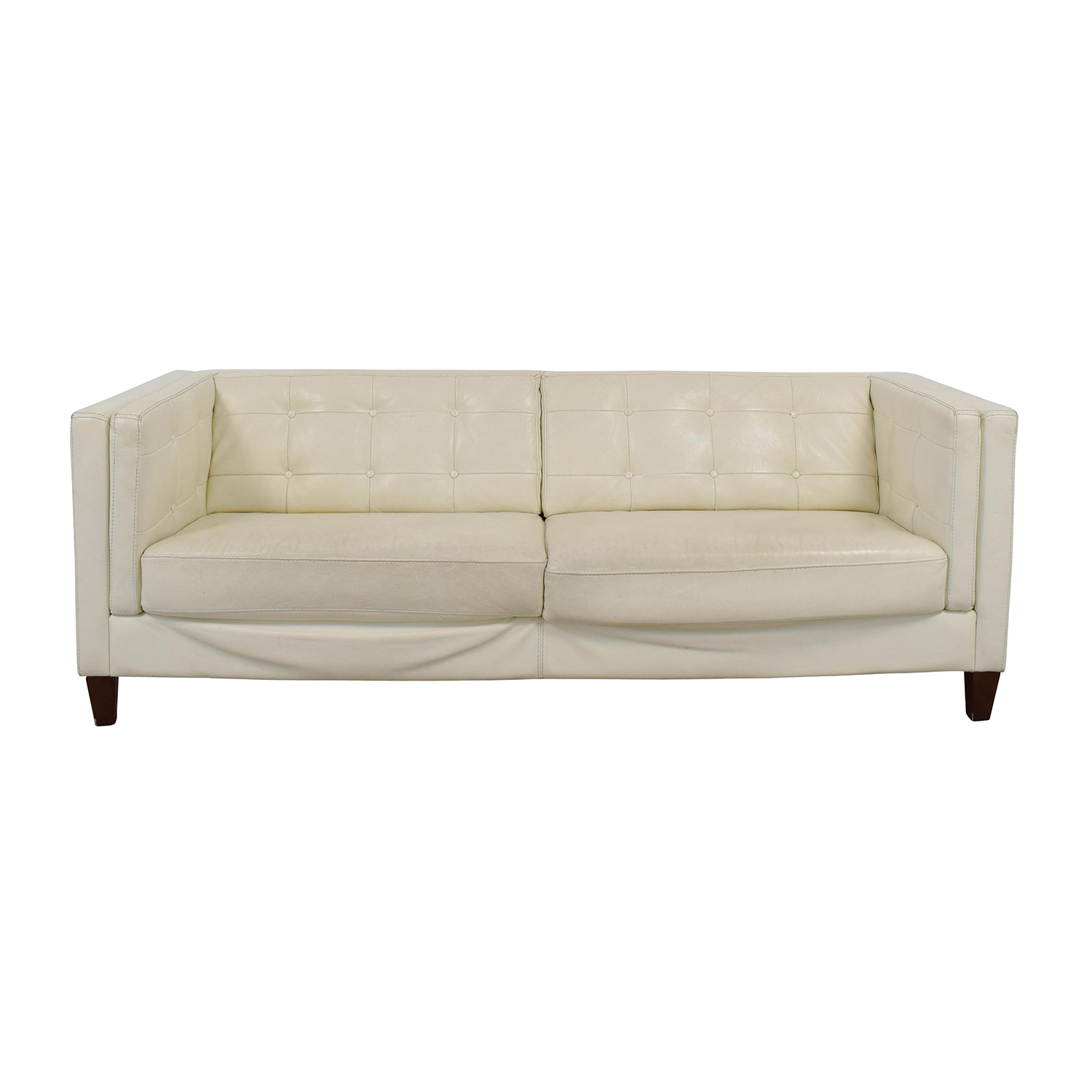 Macys Macys Tufted Pearl White Faux Leather Couch nyc