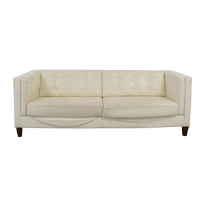Macy's Macy's Tufted Pearl White Faux Leather Couch