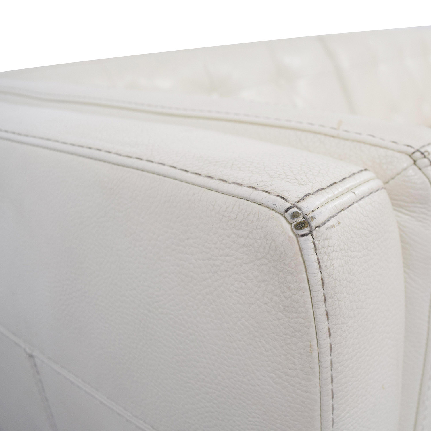 shop Macys Tufted Pearl White Faux Leather Couch Macys Classic Sofas