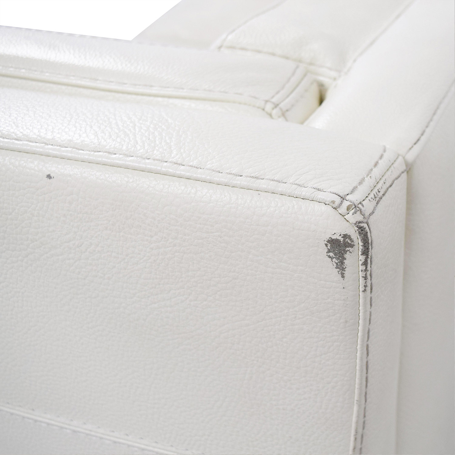 Macys Tufted Pearl White Faux Leather Couch sale