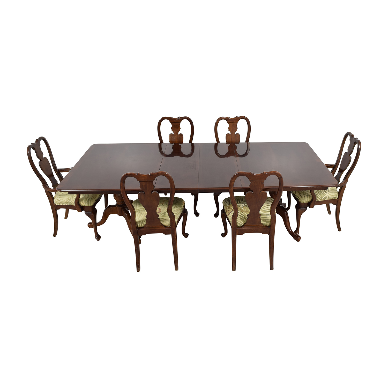 Classic Extendable Two Leaf Table with Six Chairs for sale