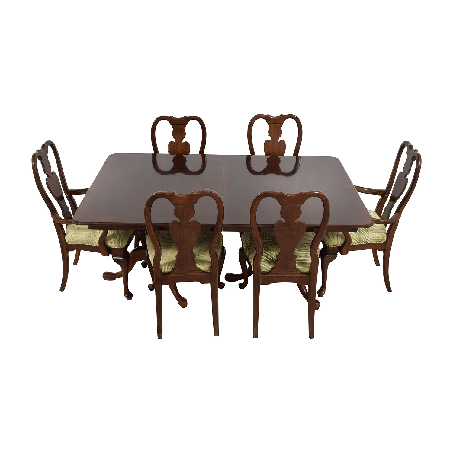 Classic Extendable Two Leaf Table with Six Chairs dimensions
