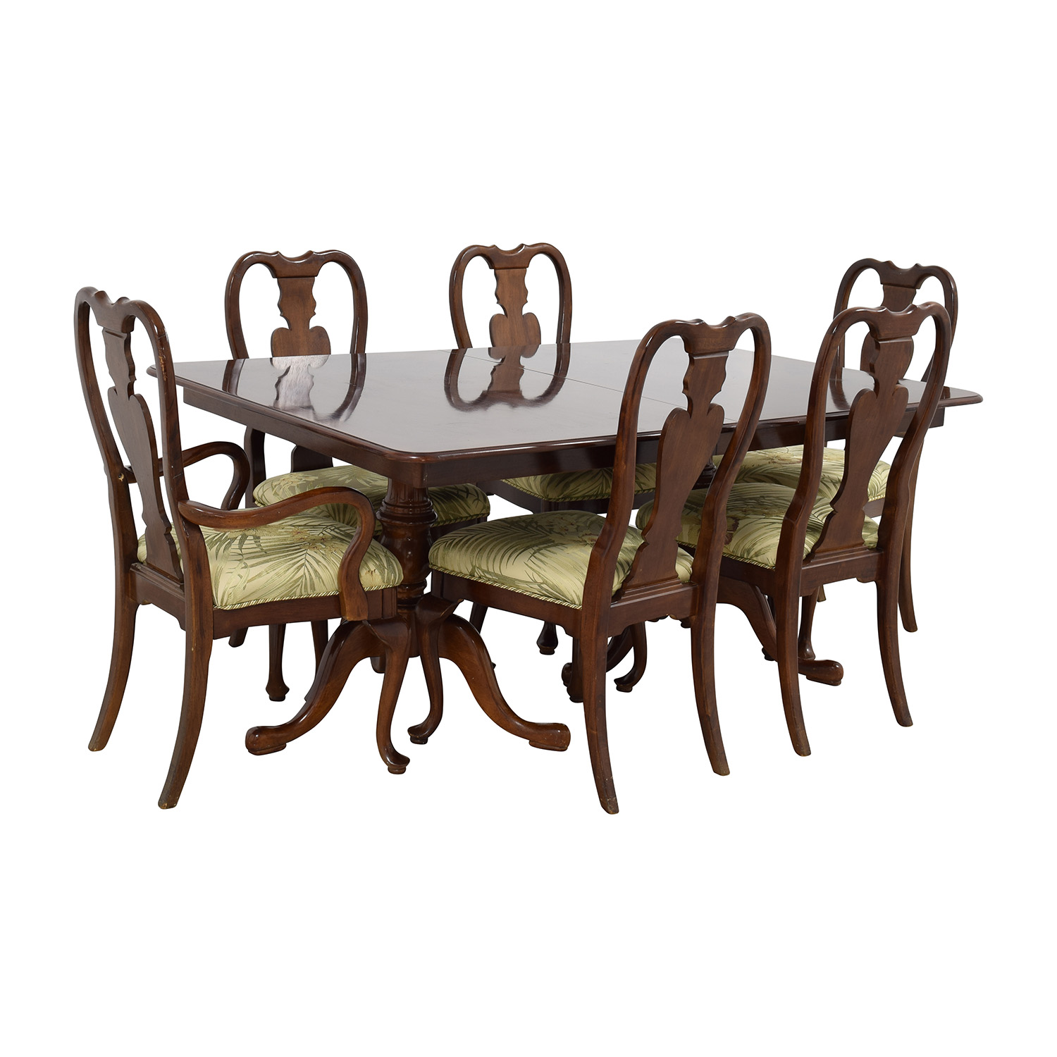 Classic Extendable Two Leaf Table with Six Chairs second hand