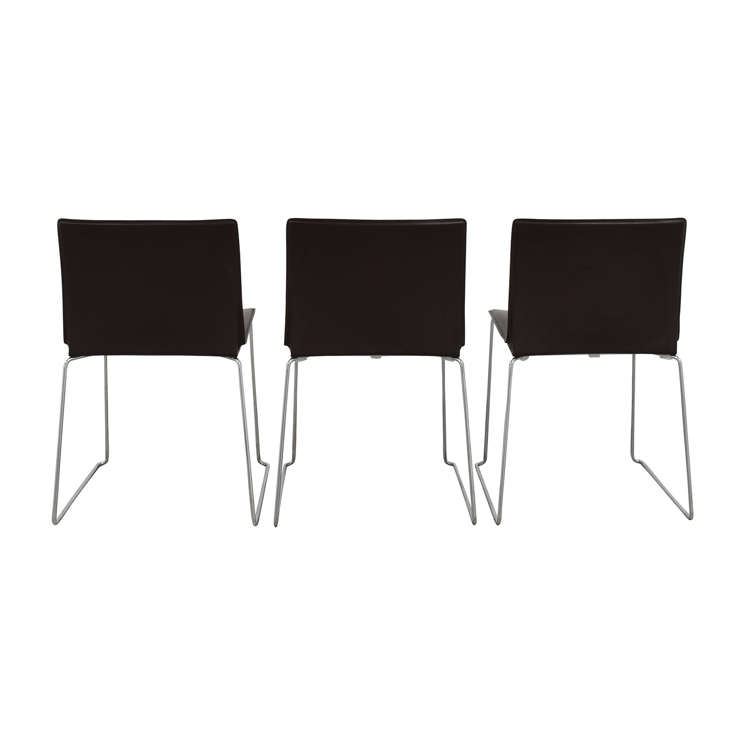 ABC Home & Carpet ABC Home & Carpet Leather Chrome Chairs, Set of Three second hand