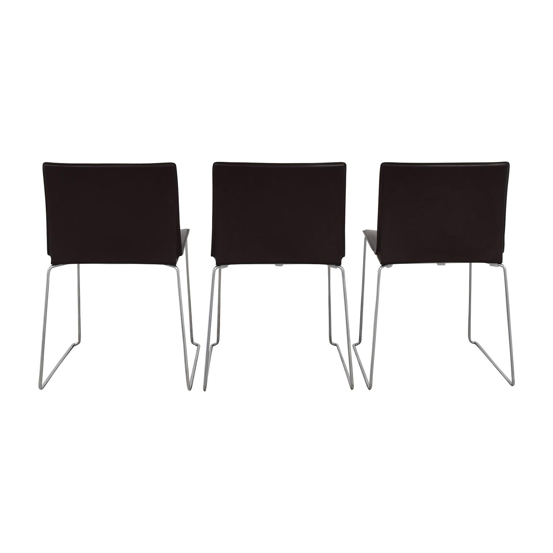 ABC Home & Carpet ABC Home & Carpet Leather Chrome Chairs, Set of Three on sale