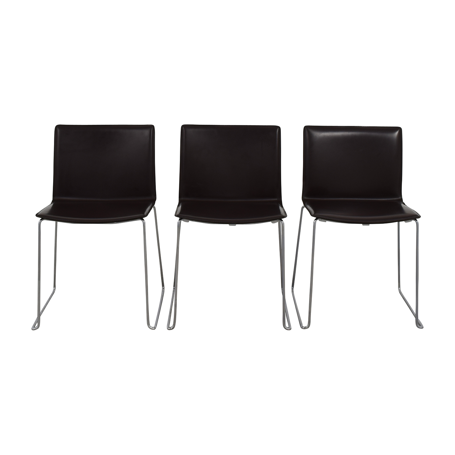 ABC Home & Carpet ABC Home & Carpet Leather Chrome Chairs, Set of Three for sale