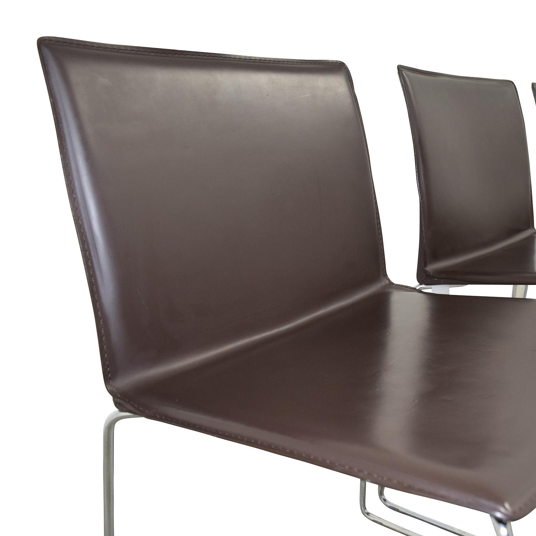 ABC Home & Carpet ABC Home & Carpet Leather Chrome Chairs, Set of Three Brown