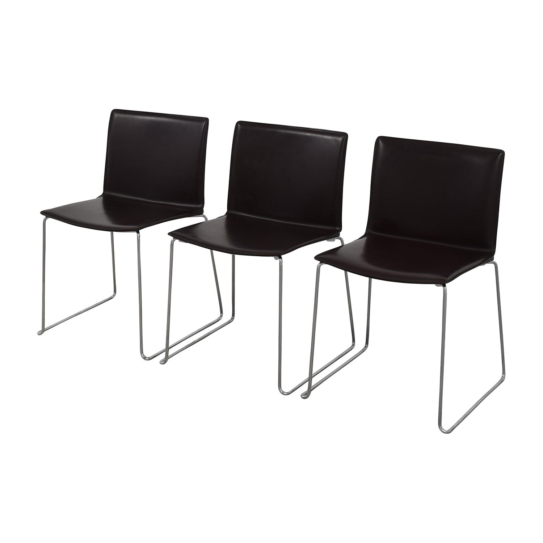 ABC Home & Carpet ABC Home & Carpet Leather Chrome Chairs, Set of Three coupon