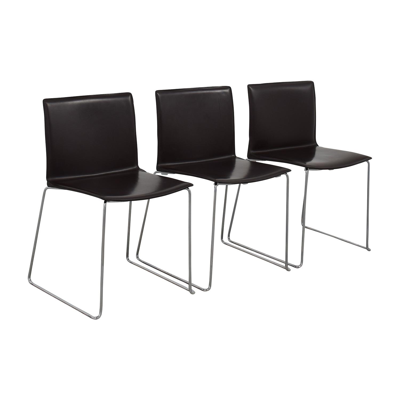 ABC Home & Carpet ABC Home & Carpet Leather Chrome Chairs, Set of Three dimensions