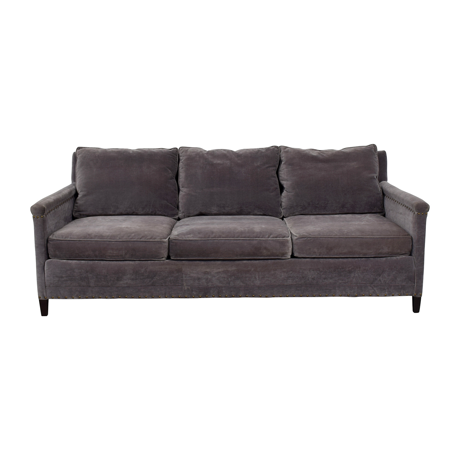 William Sonoma Grey Studded Trim Three-Cushion Sofa / Sofas