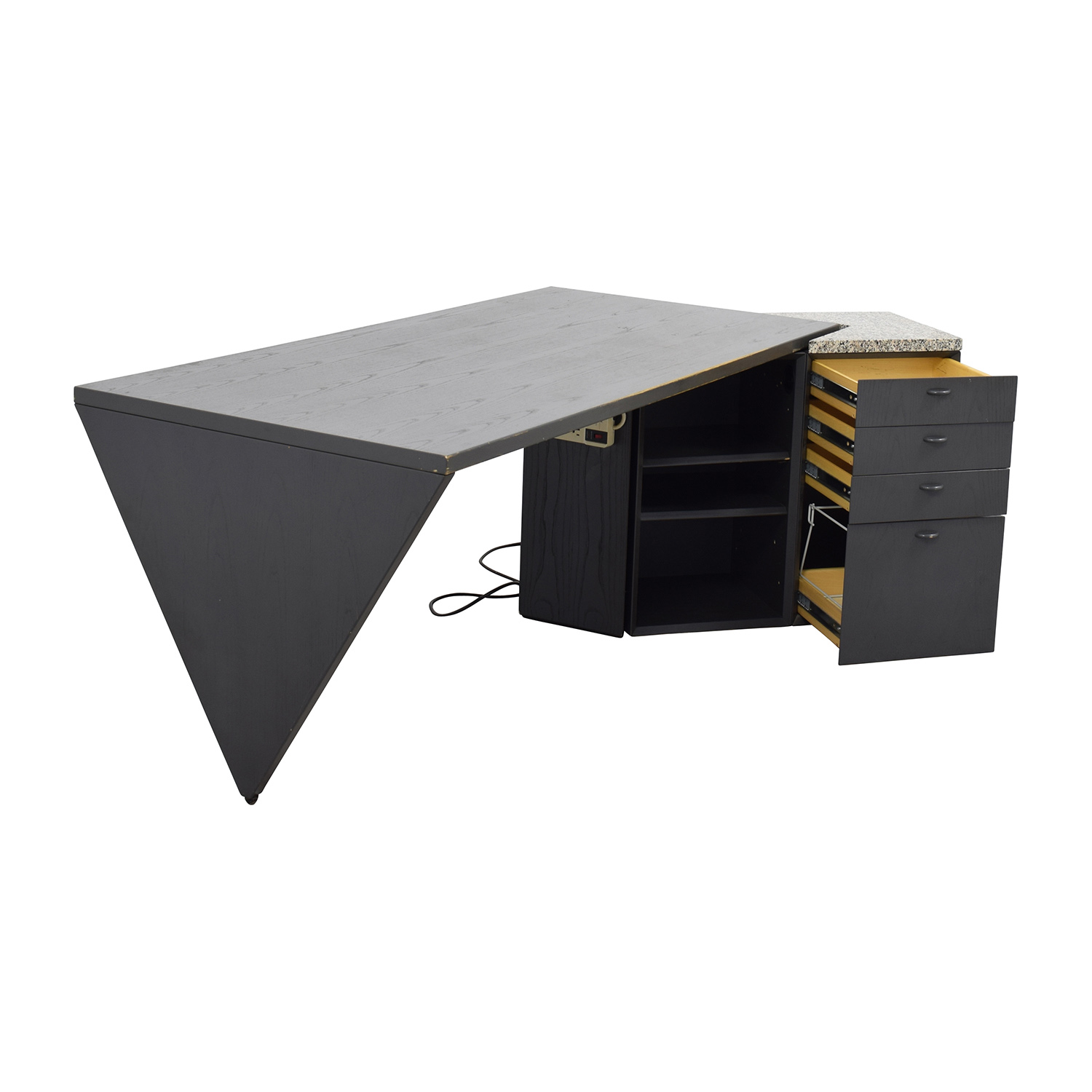 Italian 1980s Writing Desk With Marble Top