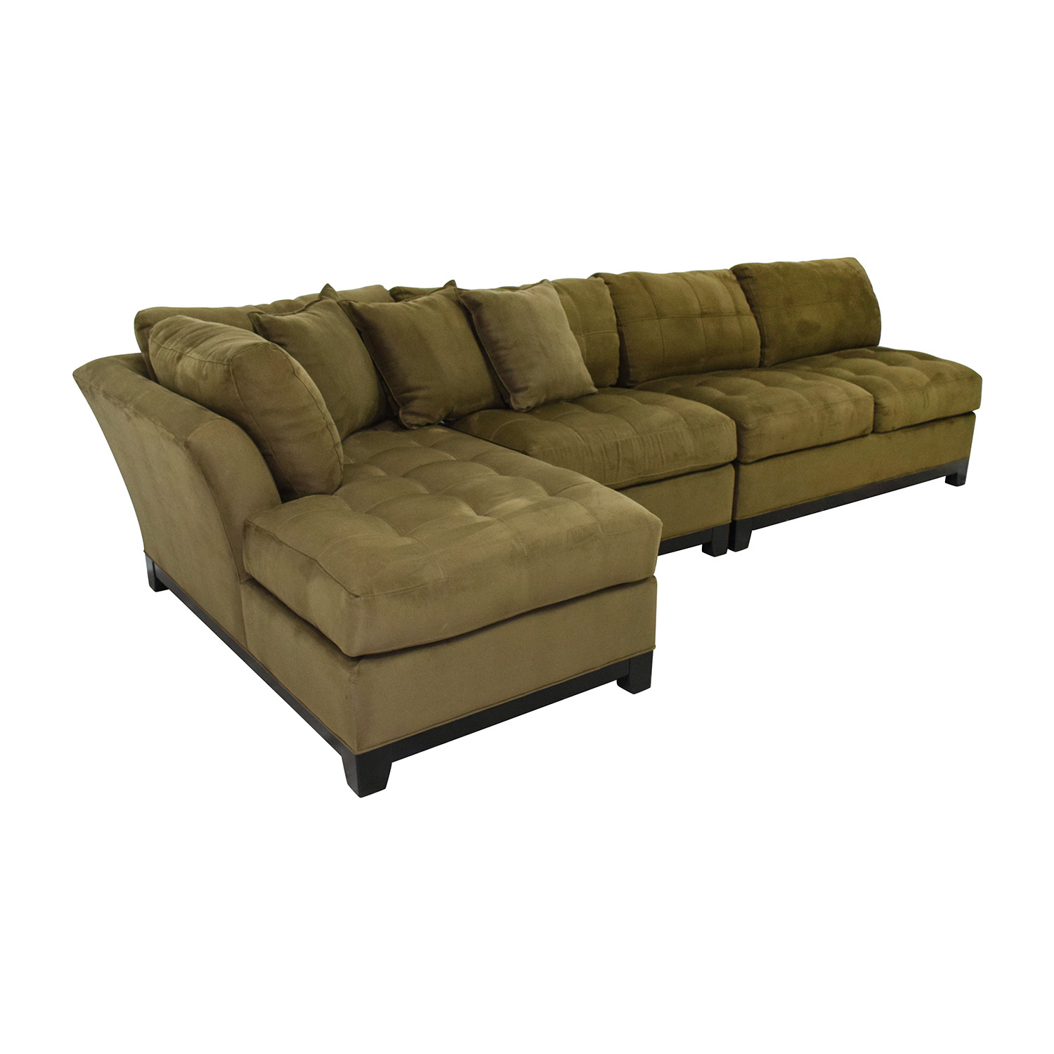77% OFF - Cindy Crawford Home Cindy Crawford Metropolis Three Piece Green  Sectional / Sofas