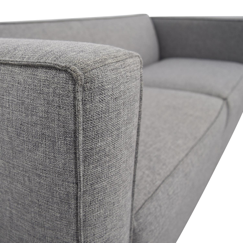 ... CB2 Club Light Grey Two Cushion Sofa Sale ...