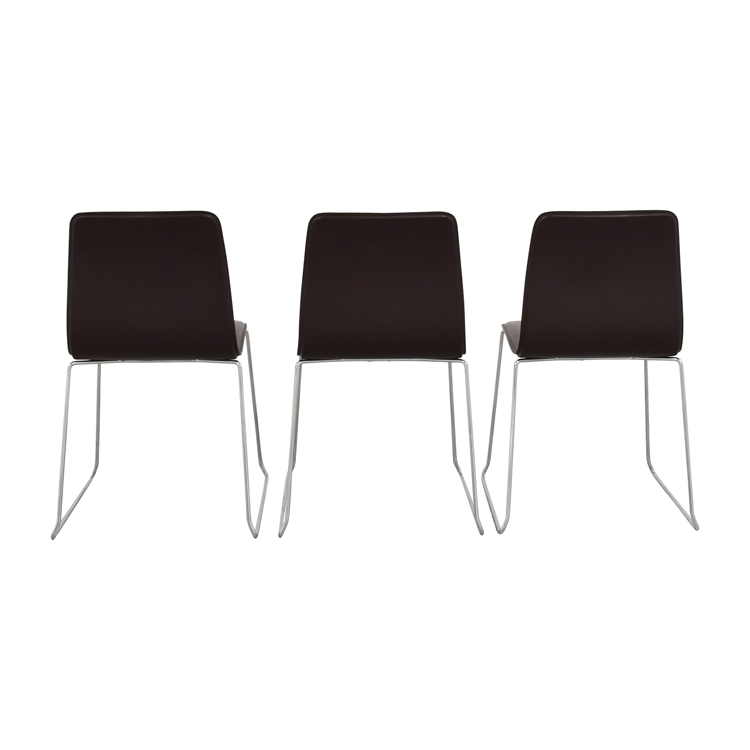 ABC Home & Carpet ABC Home & Carpet Leather and Chrome Chairs, Set of Three used