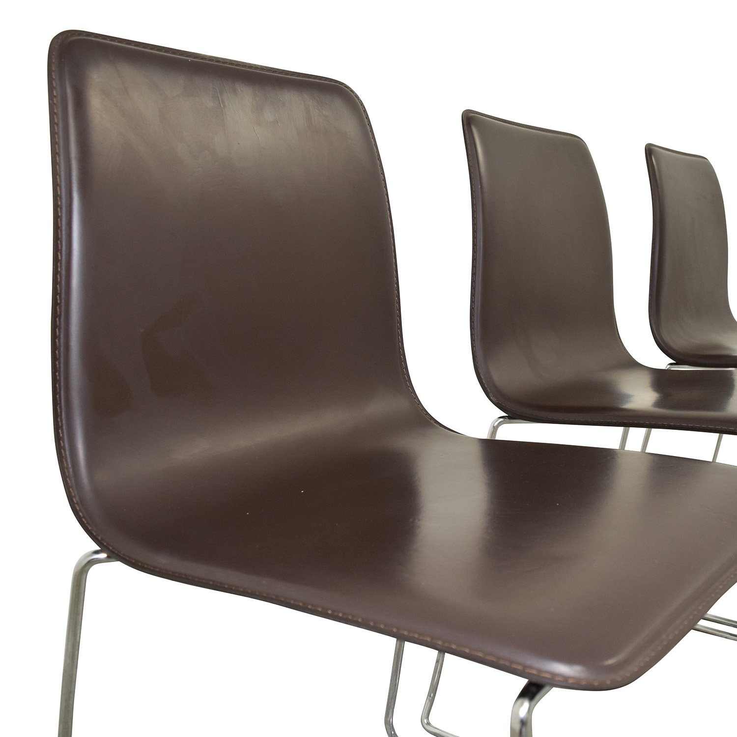 ABC Home & Carpet ABC Home & Carpet Leather and Chrome Chairs, Set of Three price