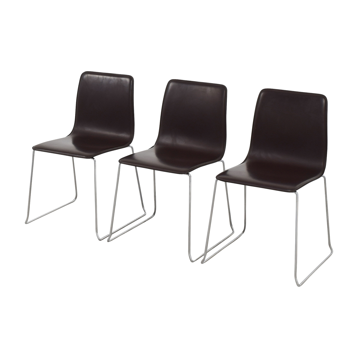 ABC Home & Carpet ABC Home & Carpet Leather and Chrome Chairs, Set of Three discount