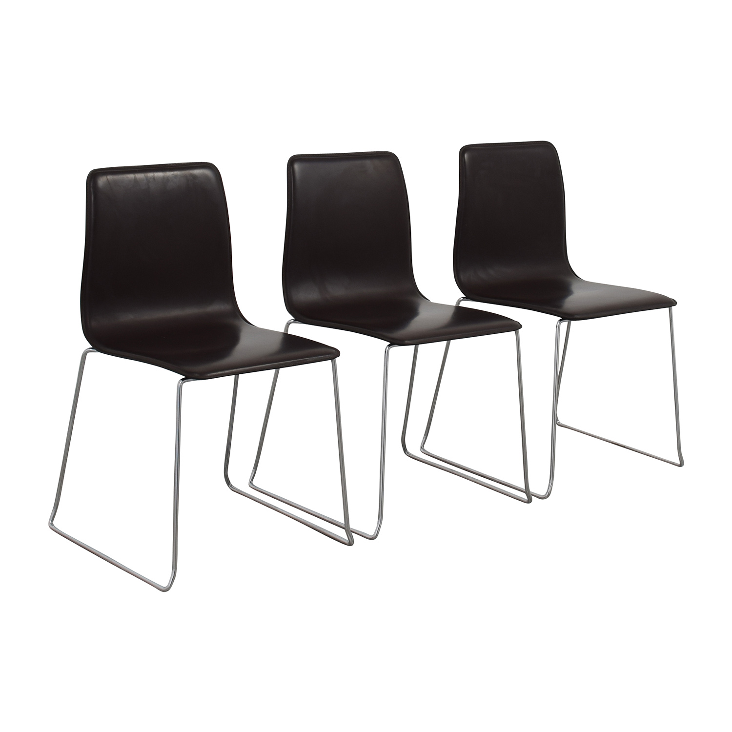 ABC Home & Carpet ABC Home & Carpet Leather and Chrome Chairs, Set of Three second hand