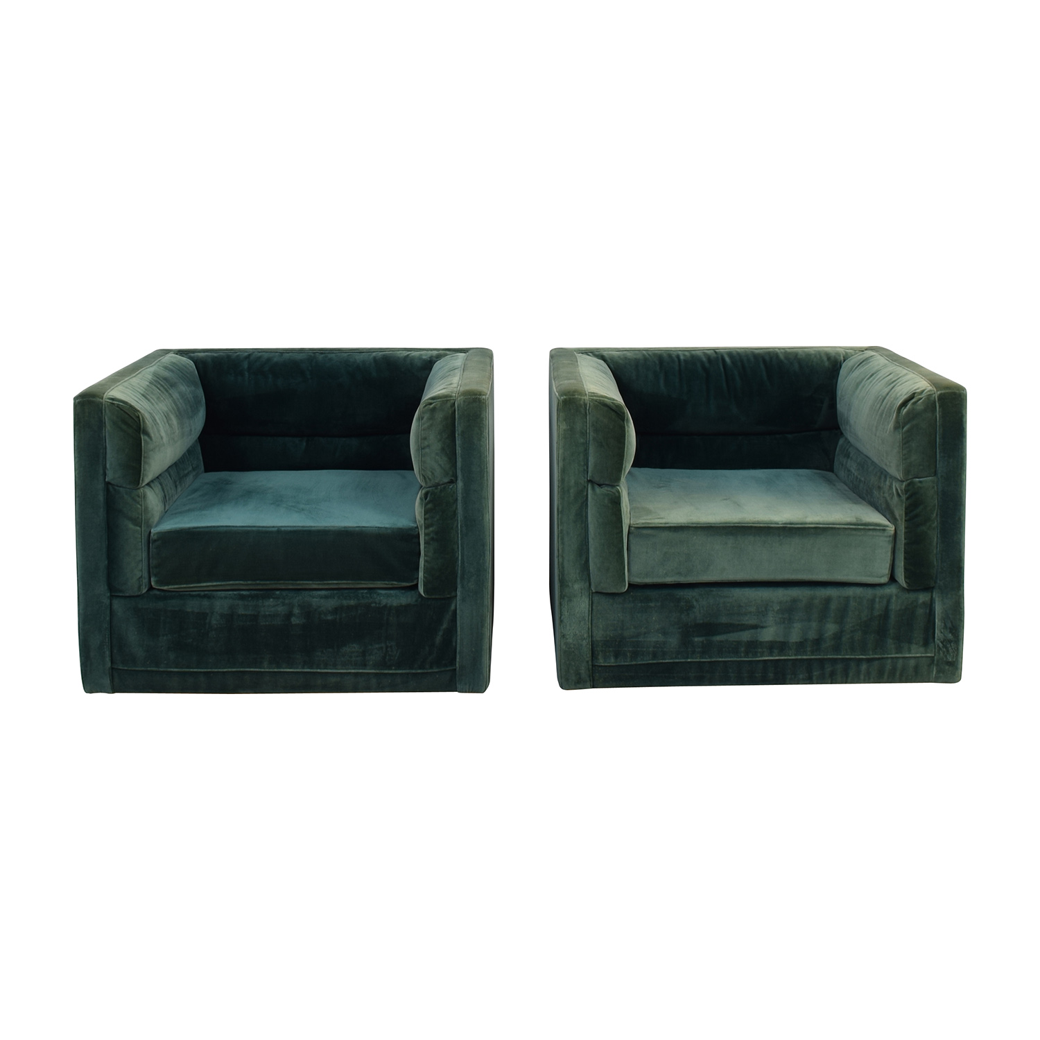 ModShop Green Velvet Chairs / Accent Chairs