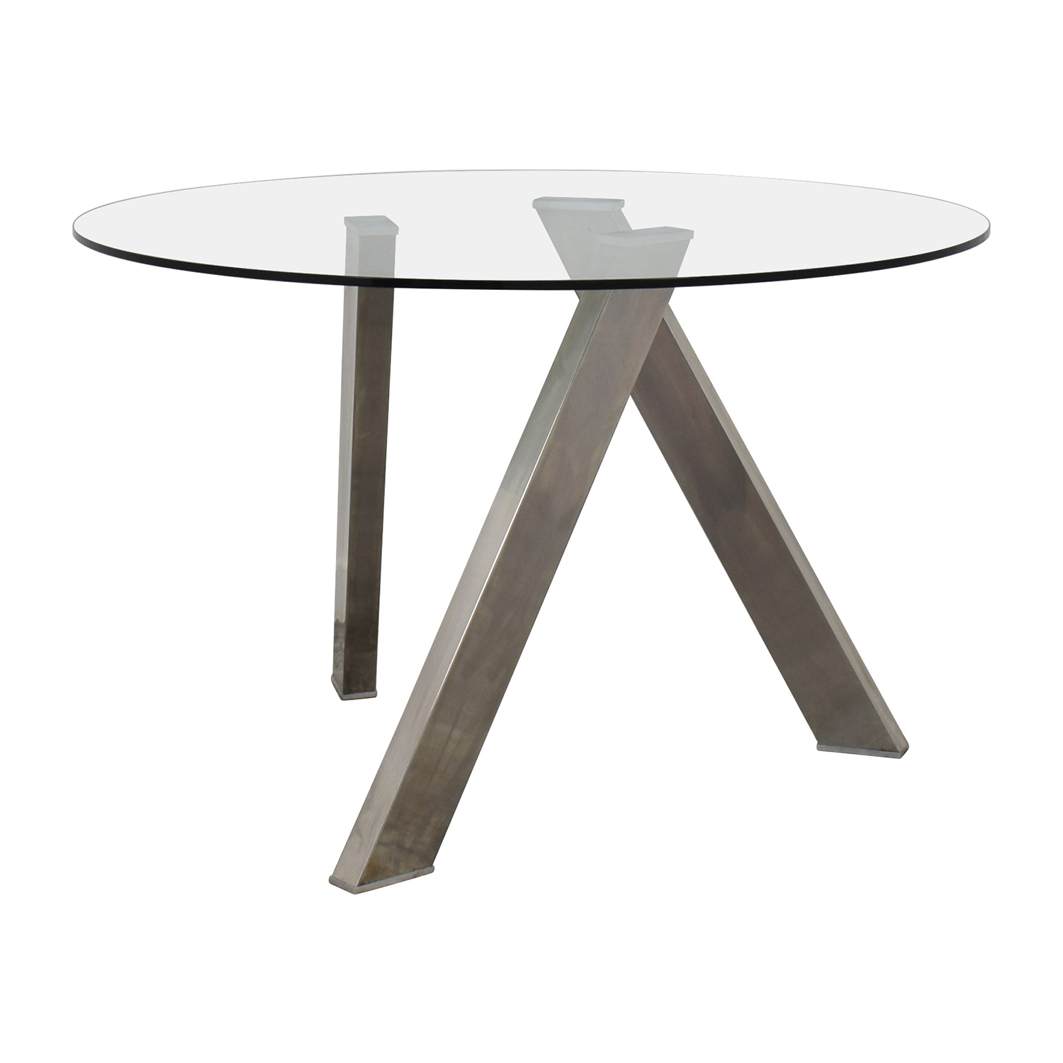 buy Modern Glass and Metal Round Dining Table