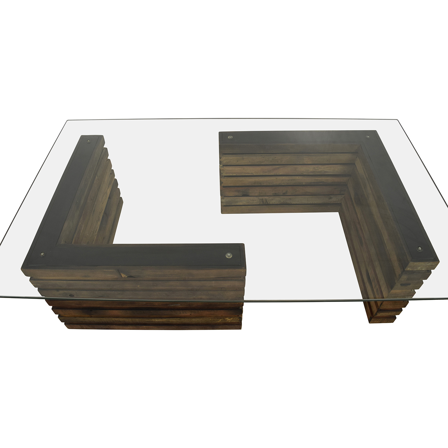 Rustic Industrial Wood And Glass Coffee Table