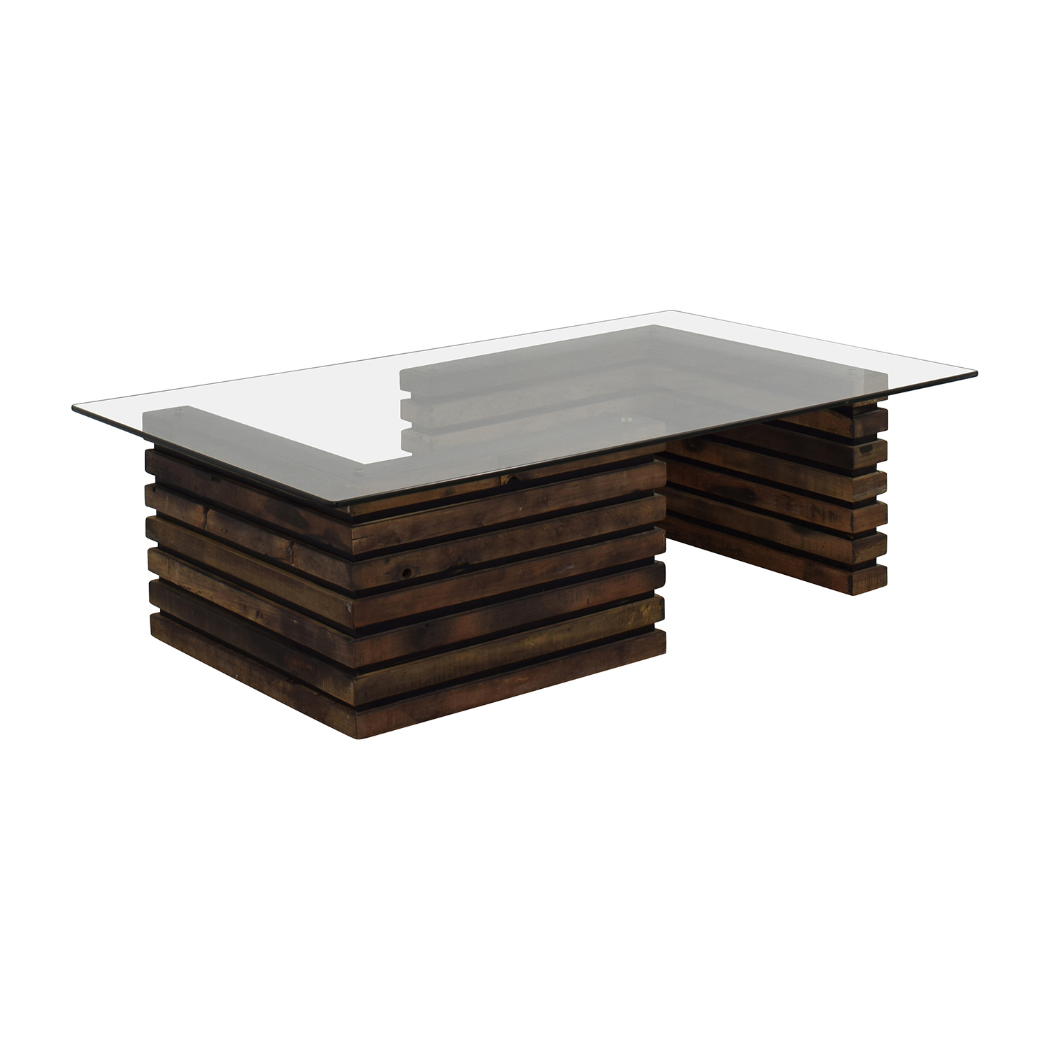 Hand Coffee Table Part - 38: ... Rustic Industrial Wood And Glass Coffee Table Brown ...