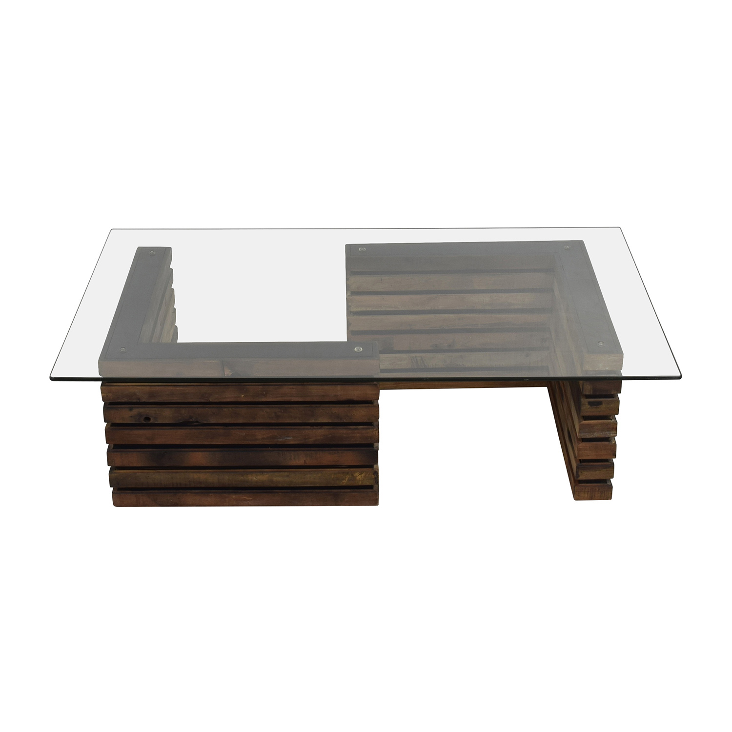 shop Rustic Industrial Wood and Glass Coffee Table