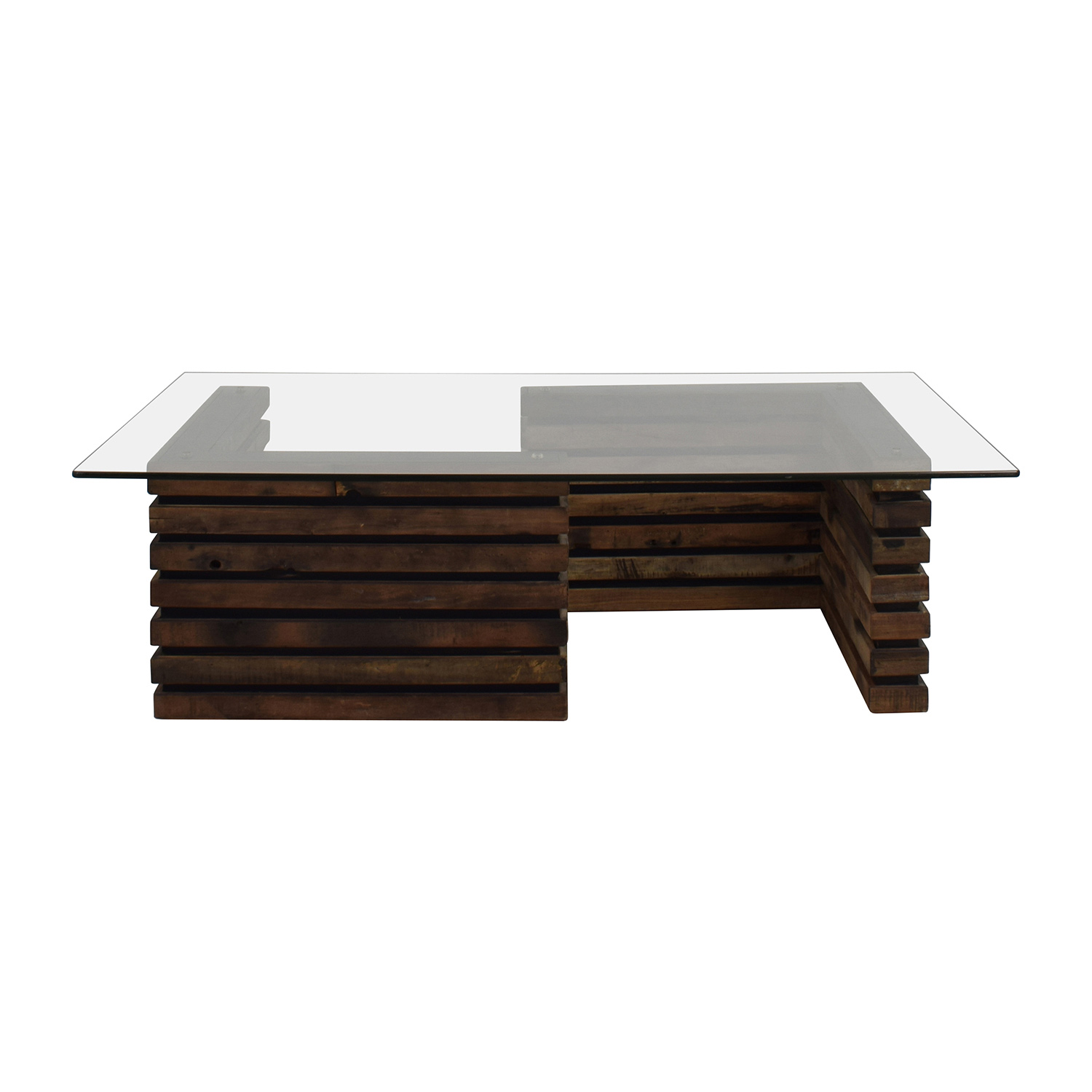 Rustic Industrial Wood and Glass Coffee Table sale