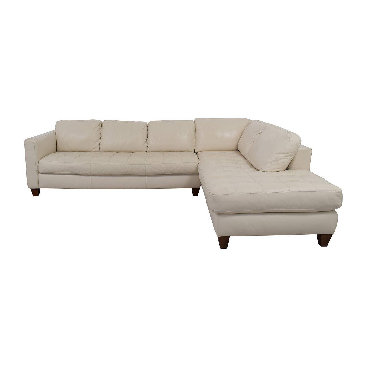 72 Off Macy S Milano White Leather Two Piece Sofa Sofas
