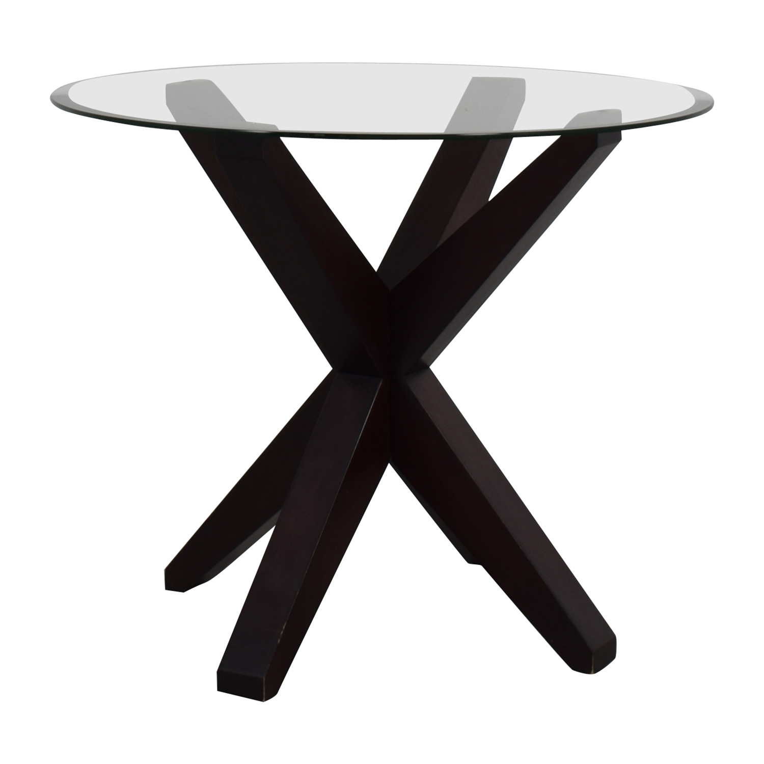 buy Round X Base Glass Table