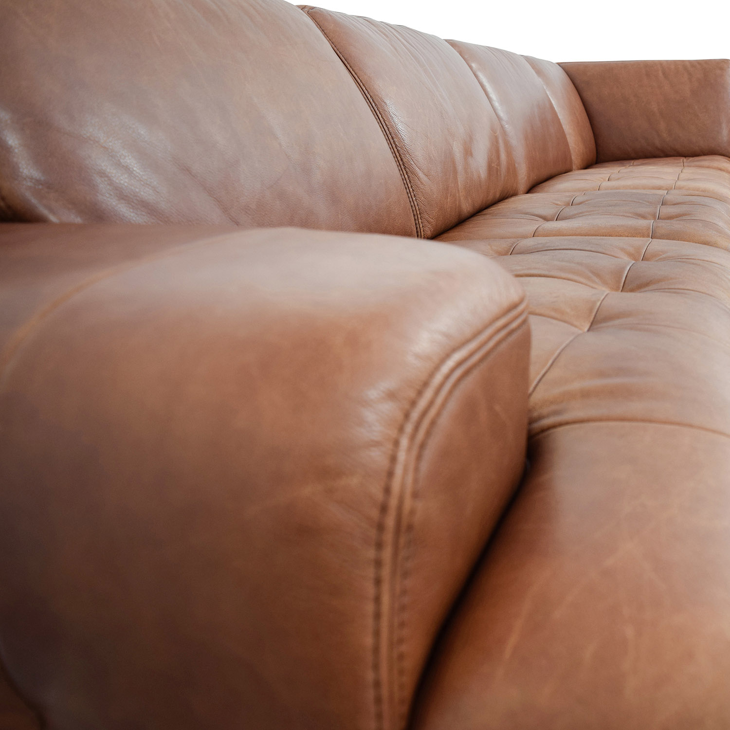 W. Schillig W. Schillig Leather Sectional with Ottoman for sale