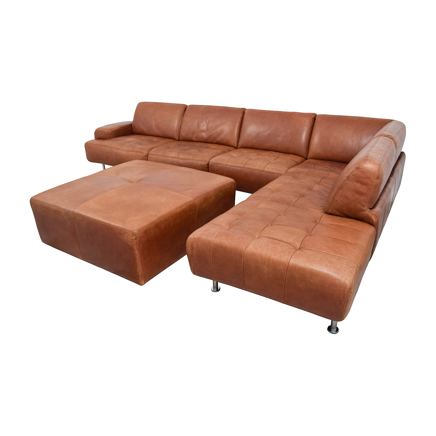 46 off w schillig w schillig leather sectional with ottoman sofas. Black Bedroom Furniture Sets. Home Design Ideas