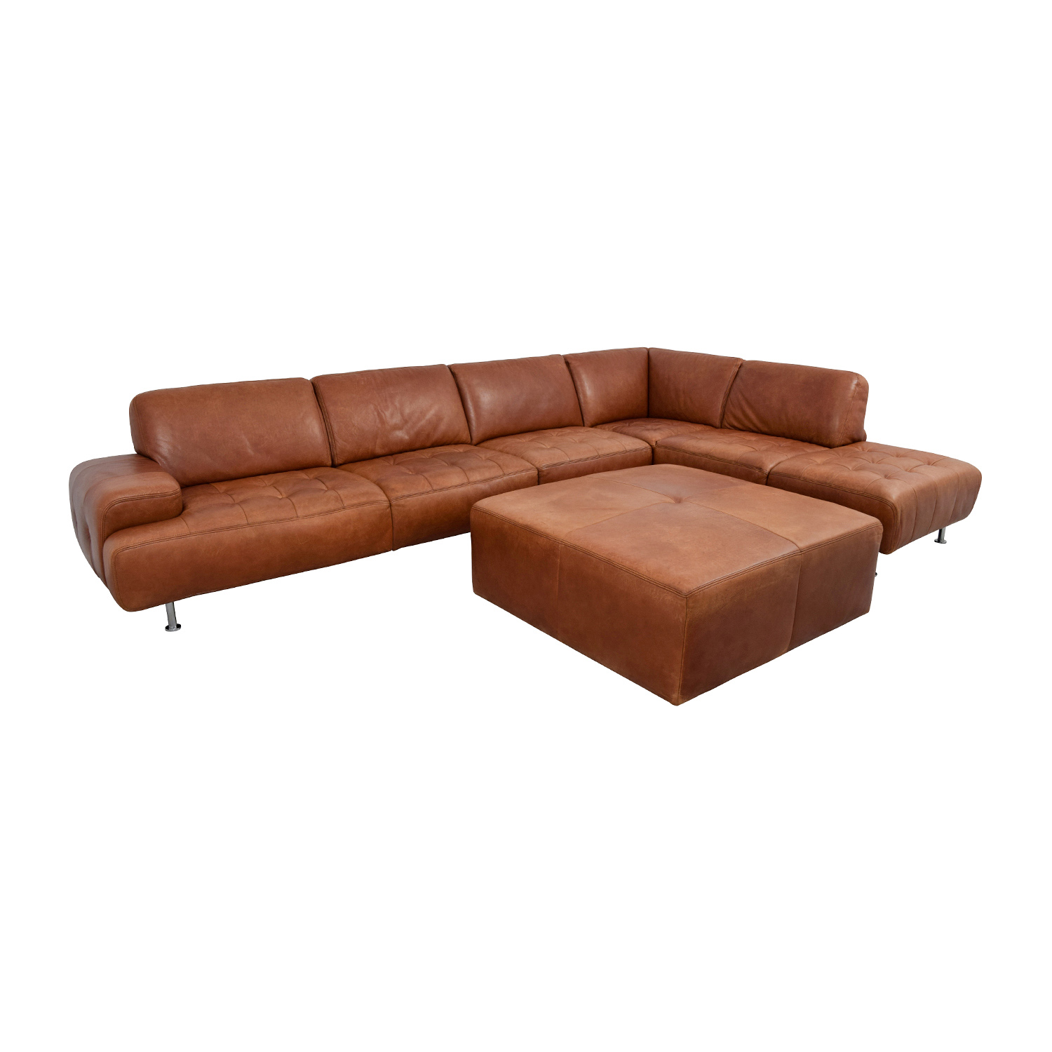 W. Schillig W. Schillig Leather Sectional with Ottoman Clay