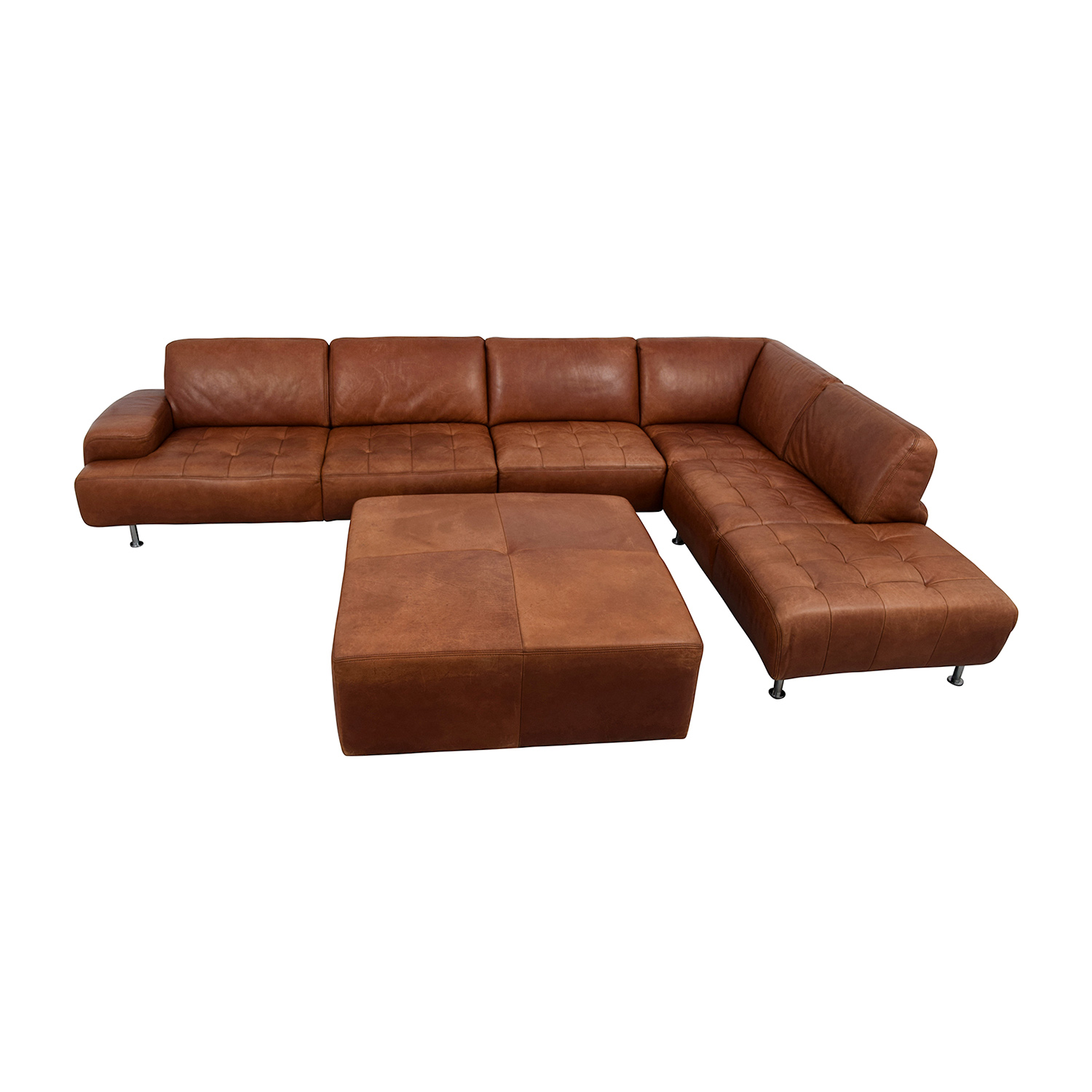 W. Schillig W. Schillig Leather Sectional with Ottoman dimensions
