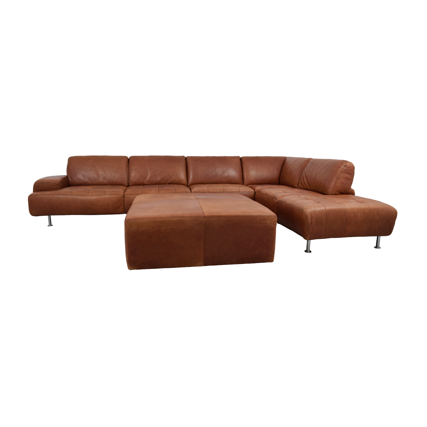 W. Schillig W. Schillig Leather Sectional with Ottoman used