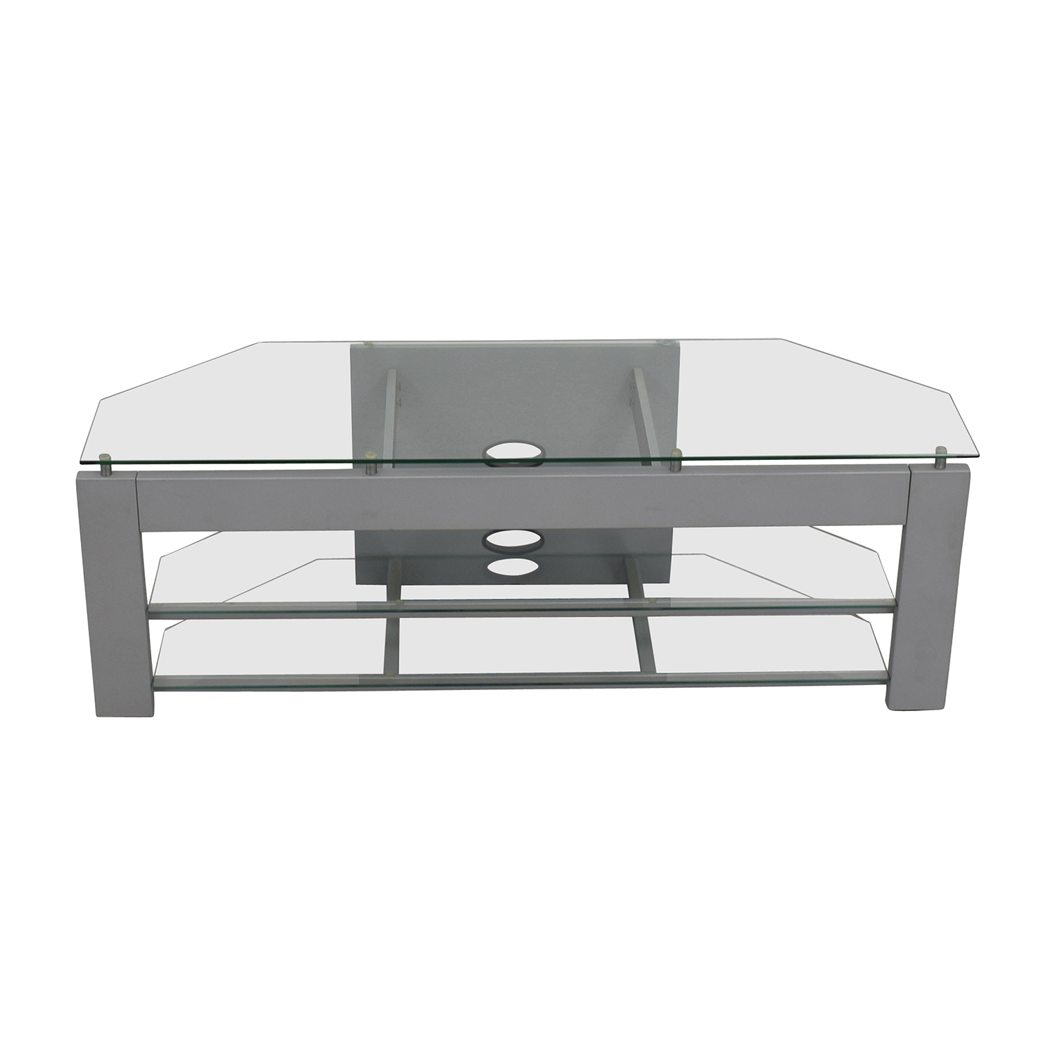 shop Silver and Glass TV Stand