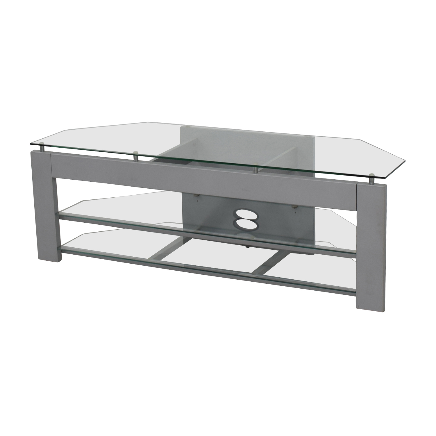 Silver and Glass TV Stand discount