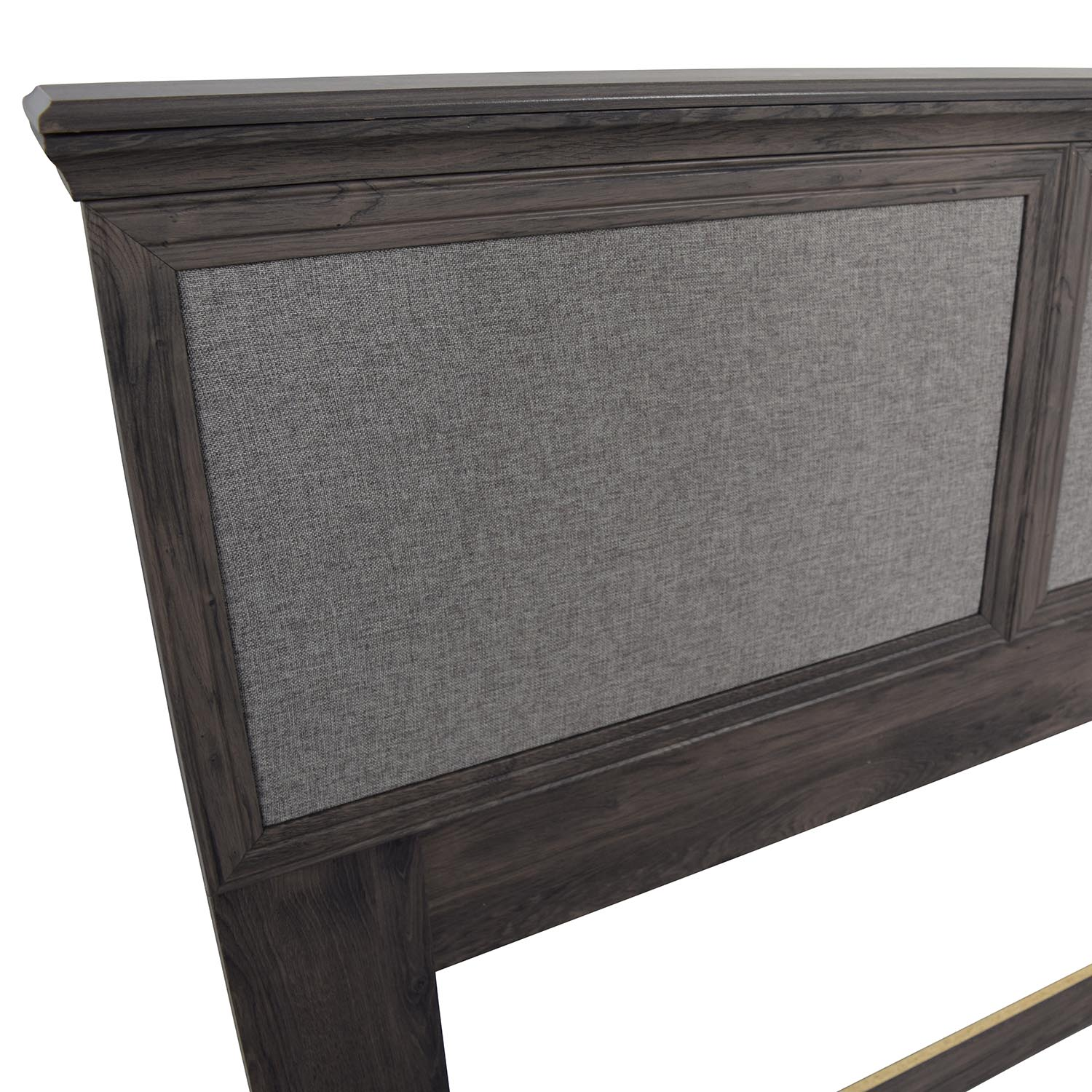 Off Grey Rustic Wood Upholstered Headboard Beds