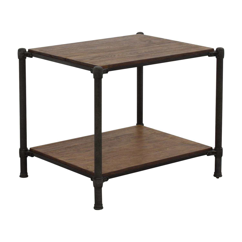 83 off ethan allen ethan allen metal and wood end table tables. Black Bedroom Furniture Sets. Home Design Ideas