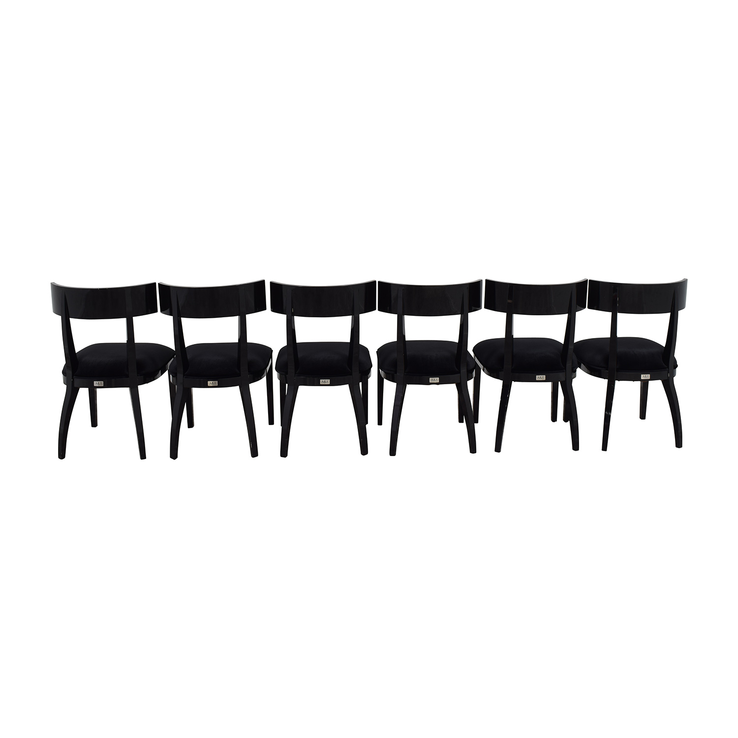 A & X Casa Luxury Collection Art Deco Black Dining Chairs