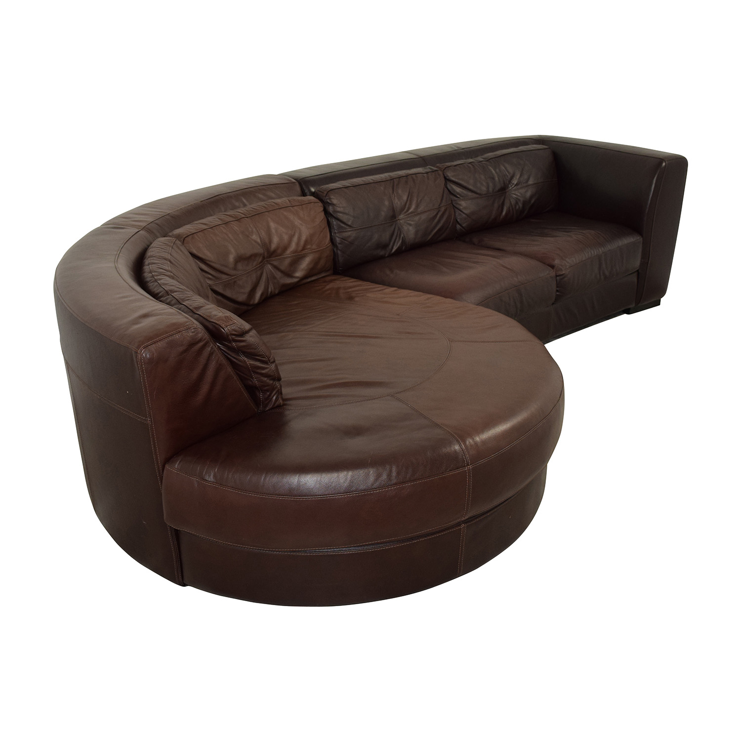 70 off chateau d 39 ax chateau d 39 ax leather sectional with for Brown leather sectional with chaise
